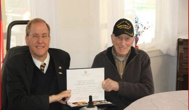 Patch: Langevin Presents Medals To World War II Sailor